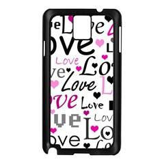 Love pattern - magenta Samsung Galaxy Note 3 N9005 Case (Black)