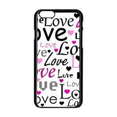 Love pattern - magenta Apple iPhone 6/6S Black Enamel Case