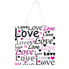 Love pattern - magenta Grocery Light Tote Bag