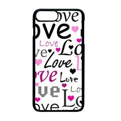 Love Pattern   Magenta Apple Iphone 7 Plus Seamless Case (black)
