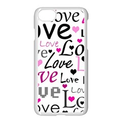 Love Pattern   Magenta Apple Iphone 7 Seamless Case (white)