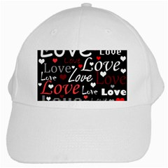 Red Love pattern White Cap