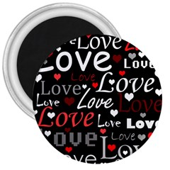 Red Love pattern 3  Magnets