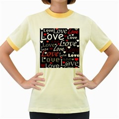 Red Love pattern Women s Fitted Ringer T-Shirts