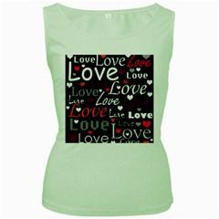 Red Love pattern Women s Green Tank Top