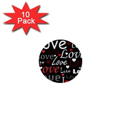 Red Love pattern 1  Mini Buttons (10 pack)