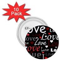 Red Love pattern 1.75  Buttons (10 pack)