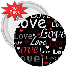 Red Love pattern 3  Buttons (10 pack)