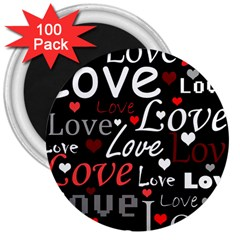 Red Love pattern 3  Magnets (100 pack)