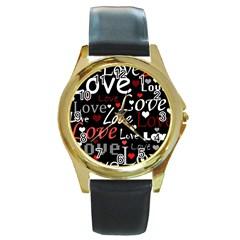 Red Love pattern Round Gold Metal Watch