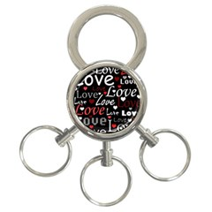 Red Love pattern 3-Ring Key Chains