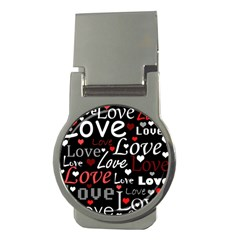 Red Love pattern Money Clips (Round)