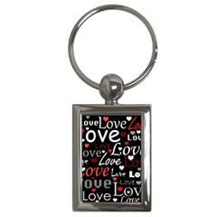 Red Love pattern Key Chains (Rectangle)