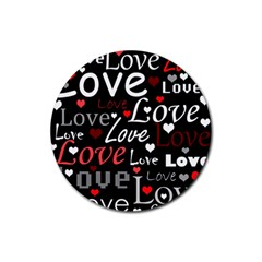 Red Love pattern Rubber Coaster (Round)