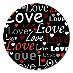 Red Love pattern Magnet 5  (Round)