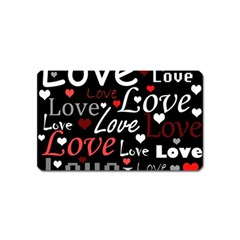 Red Love pattern Magnet (Name Card)