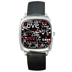 Red Love pattern Square Metal Watch