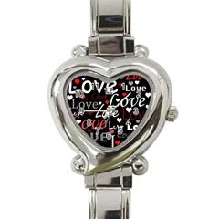 Red Love pattern Heart Italian Charm Watch