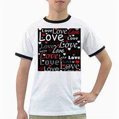Red Love pattern Ringer T-Shirts
