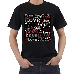 Red Love pattern Men s T-Shirt (Black) (Two Sided)