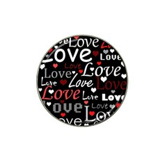 Red Love pattern Hat Clip Ball Marker (4 pack)