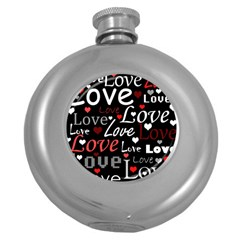 Red Love pattern Round Hip Flask (5 oz)