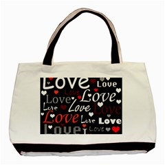 Red Love pattern Basic Tote Bag (Two Sides)