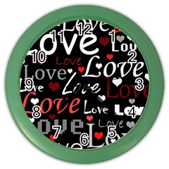 Red Love pattern Color Wall Clocks