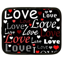 Red Love pattern Netbook Case (Large)