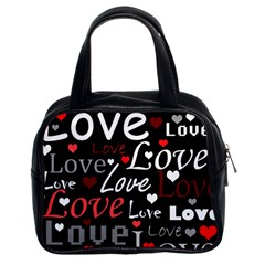 Red Love pattern Classic Handbags (2 Sides)
