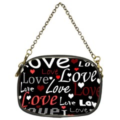 Red Love pattern Chain Purses (One Side)