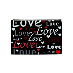 Red Love pattern Cosmetic Bag (Medium)