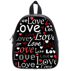 Red Love Pattern School Bags (small)