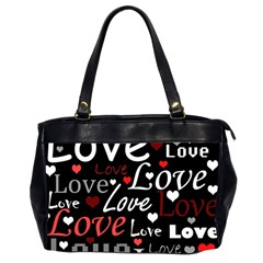 Red Love pattern Office Handbags (2 Sides)