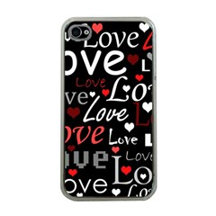 Red Love pattern Apple iPhone 4 Case (Clear)