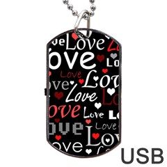 Red Love pattern Dog Tag USB Flash (One Side)