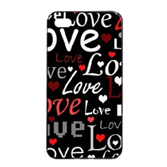 Red Love pattern Apple iPhone 4/4s Seamless Case (Black)