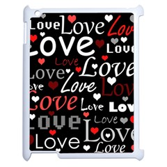 Red Love pattern Apple iPad 2 Case (White)