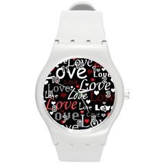 Red Love pattern Round Plastic Sport Watch (M)