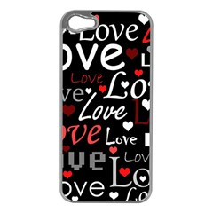 Red Love pattern Apple iPhone 5 Case (Silver)