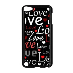 Red Love pattern Apple iPod Touch 5 Case (Black)