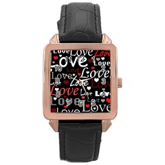 Red Love pattern Rose Gold Leather Watch