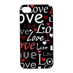 Red Love pattern Apple iPhone 4/4S Hardshell Case with Stand