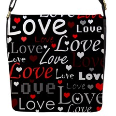 Red Love pattern Flap Messenger Bag (S)