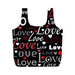 Red Love pattern Full Print Recycle Bags (M)