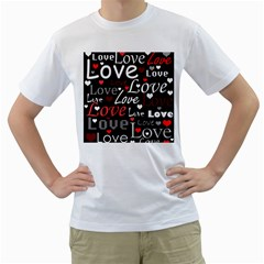 Red Love pattern Men s T-Shirt (White)