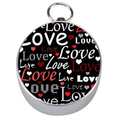 Red Love pattern Silver Compasses