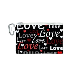 Red Love pattern Canvas Cosmetic Bag (S)