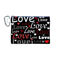 Red Love pattern Canvas Cosmetic Bag (M)