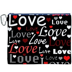 Red Love pattern Canvas Cosmetic Bag (XXXL)